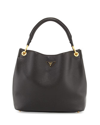 Vitello Daino Single-Strap Hobo Bag, Black (Nero)