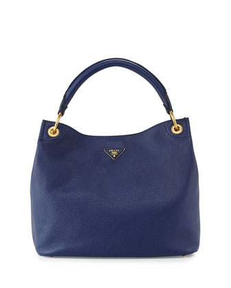 Vitello Daino Single-Strap Hobo Bag, Dark Blue (Inchiostro)