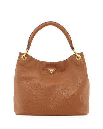 Vitello Daino Single-Strap Hobo Bag, Brown (Brandy)