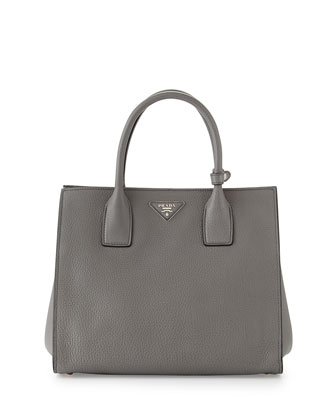 Vitello Daino Tote Bag, Gray (Marmo)