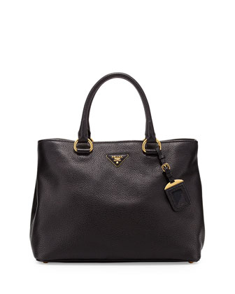 Vitello Daino Tote Bag, Black (Nero)