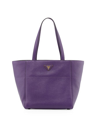 Vitello Daino Small Shopper Bag, Violet (Viola)