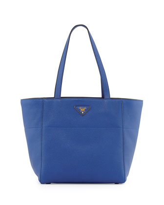 Vitello Daino Small Shopper Bag, Blue (Royal)