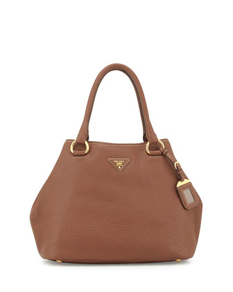 Vitello Daino Satchel Bag with Strap, Brown (Marrone)