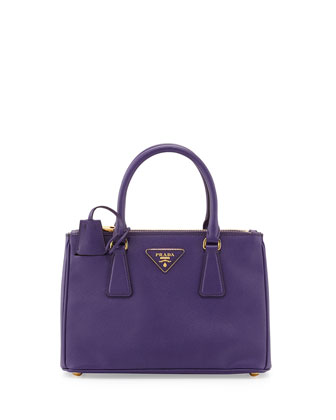 Saffiano Double-Zip Mini Crossbody Bag, Violet (Viola)