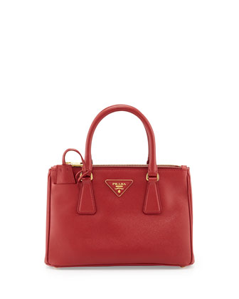 Saffiano Double-Zip Mini Crossbody Bag, Red (Fuoco)