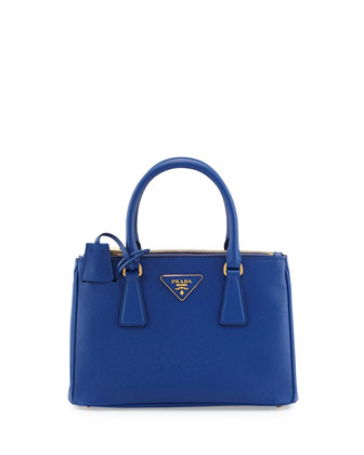 Saffiano Double-Zip Mini Crossbody Bag, Blue (Royal)
