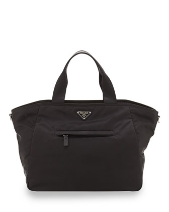 Vela Nylon Tote Bag with Strap, Black (Nero)