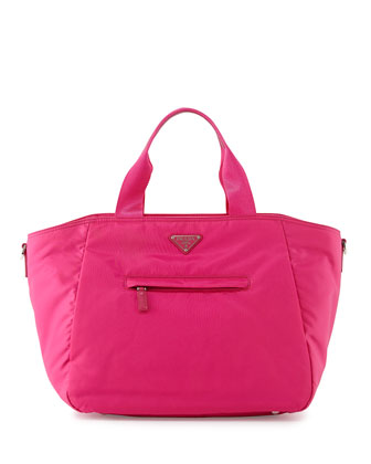 Vela Nylon Tote Bag with Strap, Pink (Fuxia)