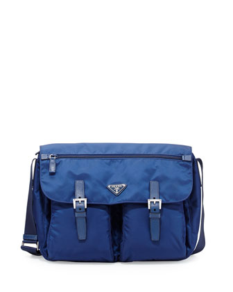 Vela Buckled Messenger Bag, Blue (Royal)