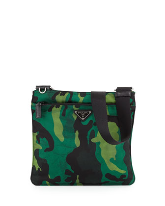 Tessuto Camouflage Crossbody Bag, Green Multi (Prato)