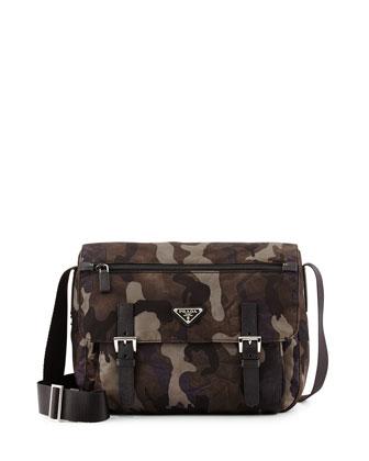 Tessuto Camouflage Messenger Bag, Gray Multi (Fumo)