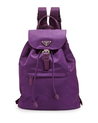 Medium Vela Nylon Backpack, Purple (Ciclamino)