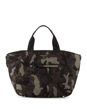 Tessuto Camo-Print Tote Bag, Gray Multi (Fumo)
