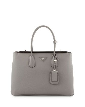 Saffiano Cuir Large Turn-Lock Twin Bag, Gray (Marmo)