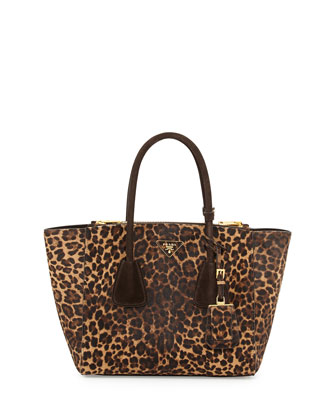 Cavallino Twin-Pocket Tote Bag, Leopard Multi