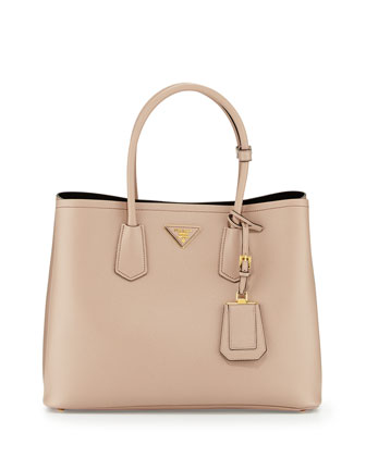 Saffiano Cuir Double Bag, Tan (Cammeo)
