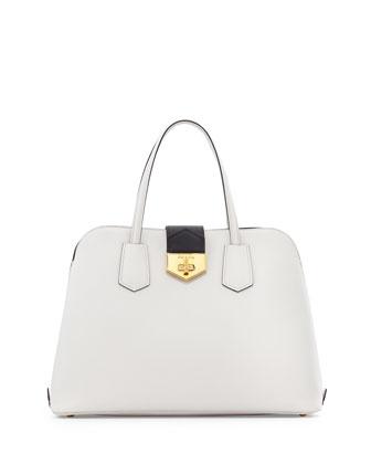 Saffiano Cuir Bicolor Promenade Bag, White/Black (Bianco+Nero)