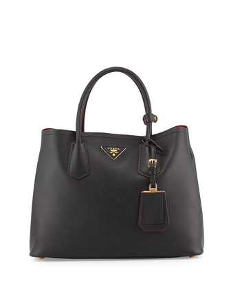 Saffiano Cuir Small Double Bag, Black (Nero)