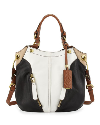 Victoria Colorblock Shoulder Bag, White Multi