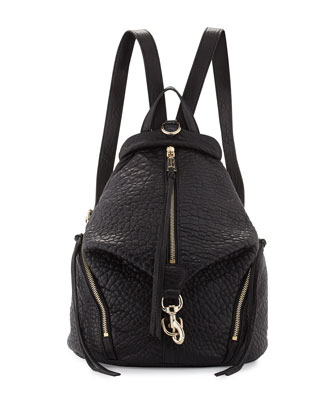 Julian Zipper-Trim Faux Leather Backpack, Black