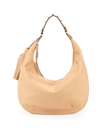 Bailey Tassel Hobo Bag, Biscuit