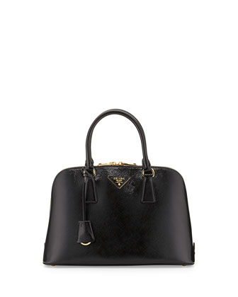 Medium Saffiano Vernice Promenade Bag, Black (Nero)
