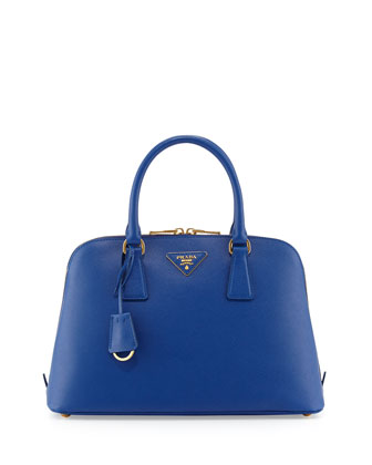 Medium Saffiano Vernice Promenade Bag, Dark Blue (Inchiostro)