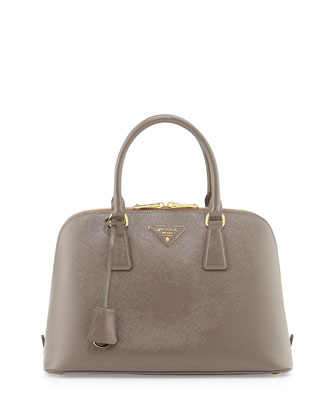 Medium Saffiano Vernice Pomenade Bag, Light Gray (Argilla)