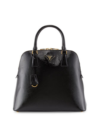 Saffiano North/South Dome Bag, Black (Nero)