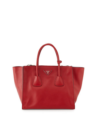 City Calf Large Twin-Pocket Tote Bag, Red (Fuoco)
