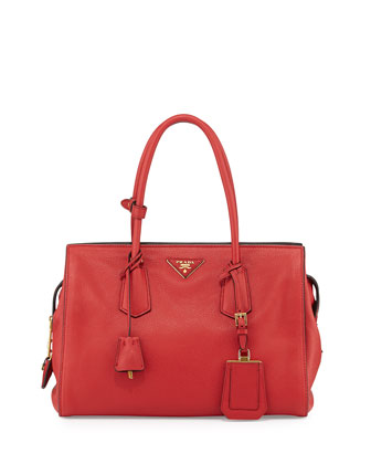 Vitello Grain Satchel, Red (Fuoco)