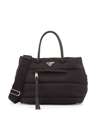 Tessuto Bomber Shopper Bag, Black (Nero)
