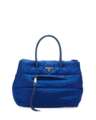 Tessuto Bomber Shopper Bag, Blue (Bluette)