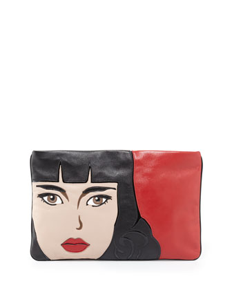 Nappa Clutch Bag, Red (Fuoco)