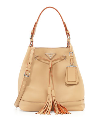 City Calf Bucket Bag, Tan (Noisette)