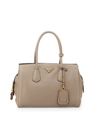 Vitello Grain Satchel, Light Gray (Pomice)