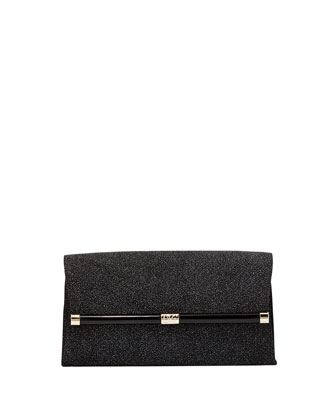 440 Glass-Embossed Envelope Clutch Bag, Black Diamond