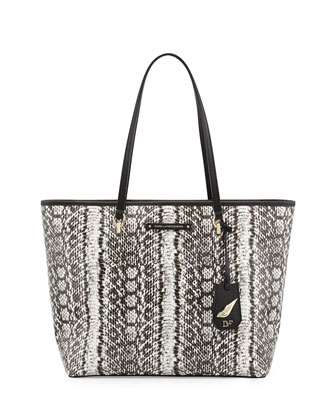 Sutra Snake-Print Ready to Go Tote Bag, Black/White