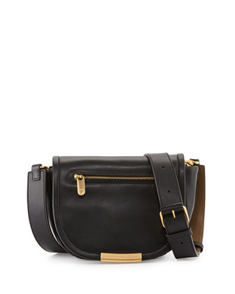 Luna Flap-Top Crossbody Bag, Black