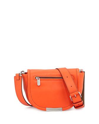 Luna Leather Saddle Crossbody Bag, Orange Glow