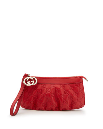 Sukey Guccissima Leather Charm Wristlet, Red