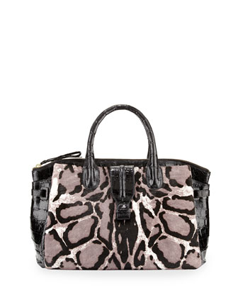 Leopard-Print Medium Mixed-Media Satchel Bag, Black/White
