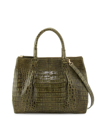Crocodile Large Double-Zip Tote Bag, Olive