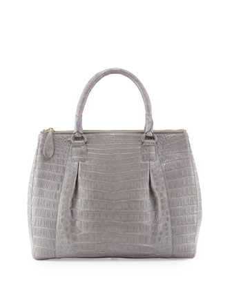 Executive Double-Zip Crocodile Tote Bag, Gray
