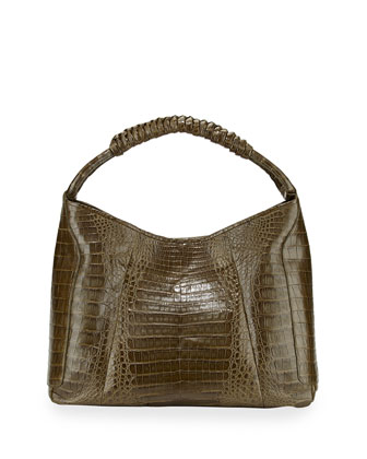 Crocodile Medium Spiral-Wrapped Hobo Bag, Army Green