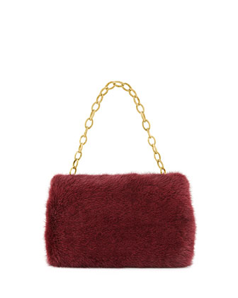 Small Framed Mink Fur Clutch Bag, Bordeaux
