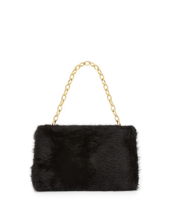 Small Framed Mink Fur Clutch Bag, Black