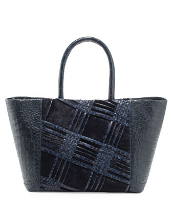 Small Woven Crocodile & Calf Hair Tote Bag, Navy
