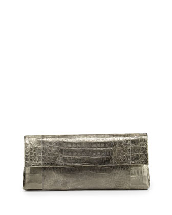 Crocodile Flap Clutch Bag, Bronze